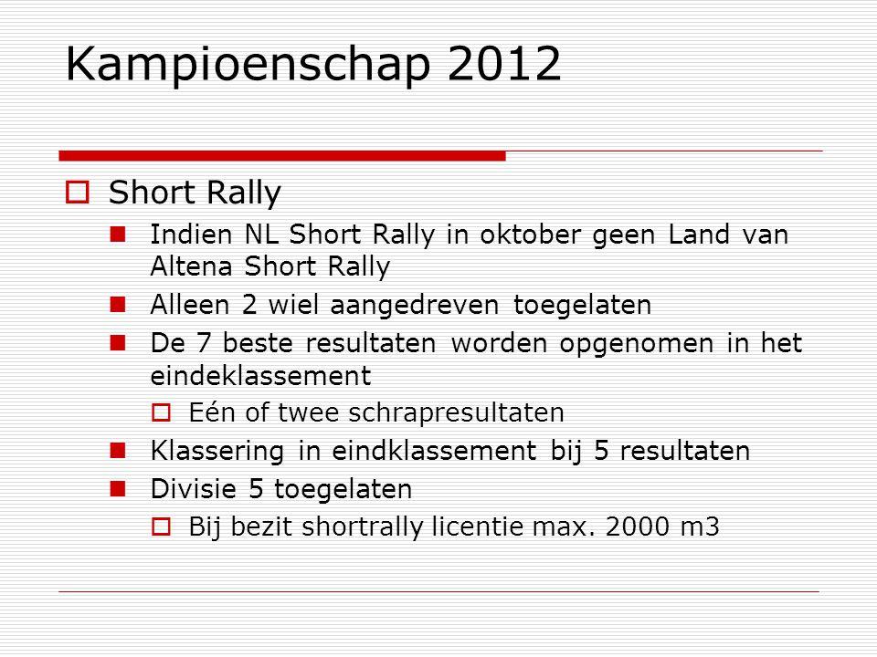 Kampioenschap 2012  Short Rally Indien NL Short Rally in oktober geen Land van Altena Short Rally Alleen 2 wiel aangedreven toegelaten De 7 beste resultaten worden opgenomen in het eindeklassement  Eén of twee schrapresultaten Klassering in eindklassement bij 5 resultaten Divisie 5 toegelaten  Bij bezit shortrally licentie max.