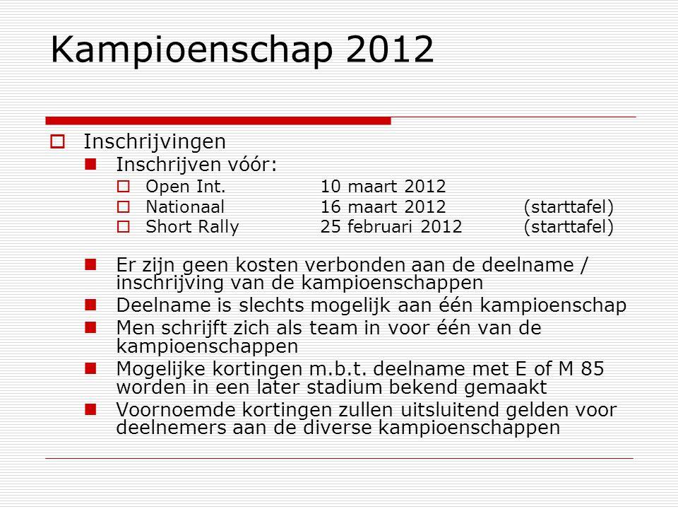 Kampioenschap 2012  Inschrijvingen Inschrijven vóór:  Open Int.10 maart 2012  Nationaal16 maart 2012 (starttafel)  Short Rally25 februari 2012(sta