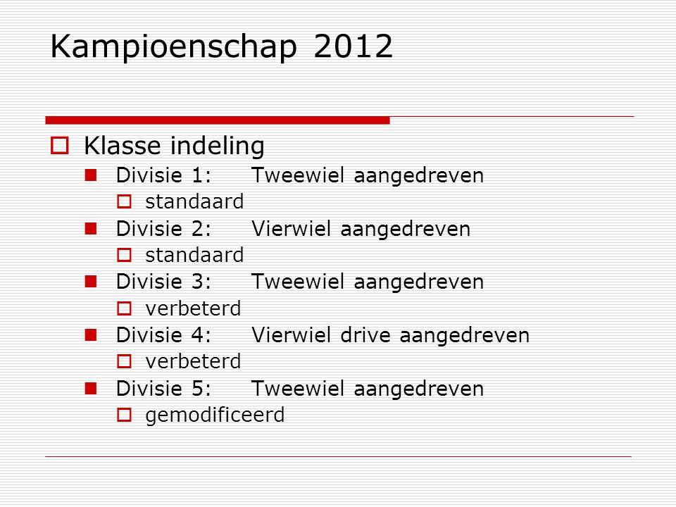 Kampioenschap 2012  Klasse indeling Divisie 1:Tweewiel aangedreven  standaard Divisie 2:Vierwiel aangedreven  standaard Divisie 3:Tweewiel aangedreven  verbeterd Divisie 4:Vierwiel drive aangedreven  verbeterd Divisie 5:Tweewiel aangedreven  gemodificeerd
