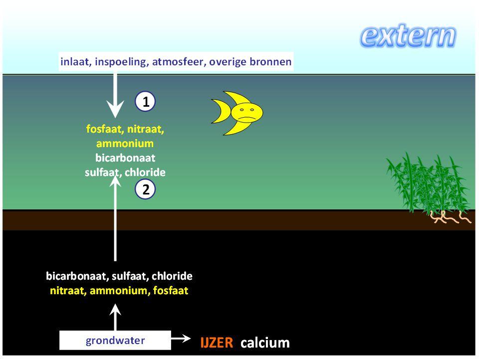 Resultaten: Nutriëntenbelasting: –Aandeel extern –Aandeel intern Via diffusie (Quickscan) Via opwerveling Belang nutriëntenbelasting –Vertroebeling door algen –Vertroebeling door zwevende stof Model om maatregelen door te rekenen Bodemdiagnose
