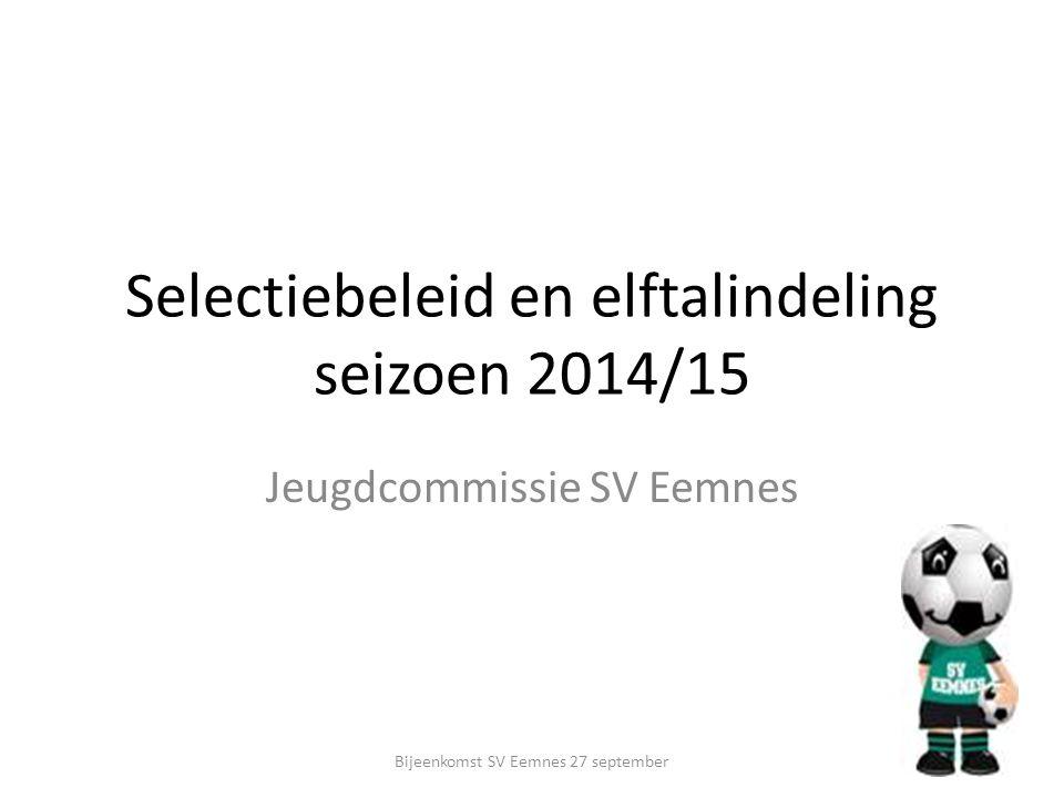 Selectiebeleid en elftalindeling seizoen 2014/15 Jeugdcommissie SV Eemnes Bijeenkomst SV Eemnes 27 september