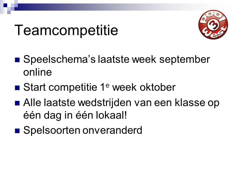 Teamcompetitie Speelschema's laatste week september online Start competitie 1 e week oktober Alle laatste wedstrijden van een klasse op één dag in één lokaal.
