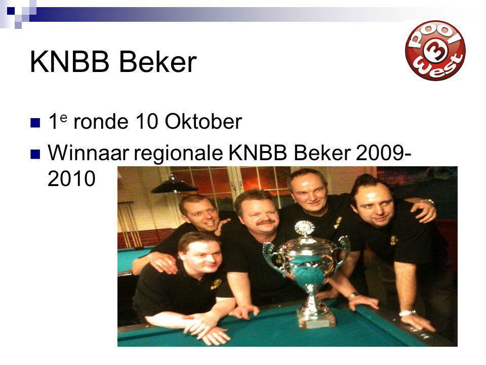 KNBB Beker 1 e ronde 10 Oktober Winnaar regionale KNBB Beker 2009- 2010