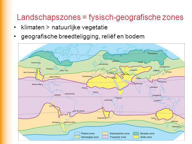 Landschapszones = fysisch-geografische zones klimaten > natuurlijke vegetatie geografische breedteligging, reliëf en bodem