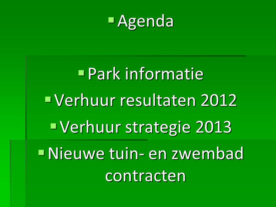  Agenda  Park informatie  Verhuur resultaten 2012  Verhuur strategie 2013  Nieuwe tuin- en zwembad contracten