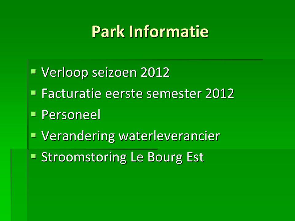Park Informatie  Verloop seizoen 2012  Facturatie eerste semester 2012  Personeel  Verandering waterleverancier  Stroomstoring Le Bourg Est