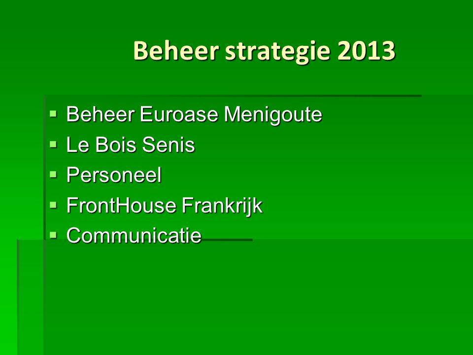 Beheer strategie 2013  Beheer Euroase Menigoute  Le Bois Senis  Personeel  FrontHouse Frankrijk  Communicatie