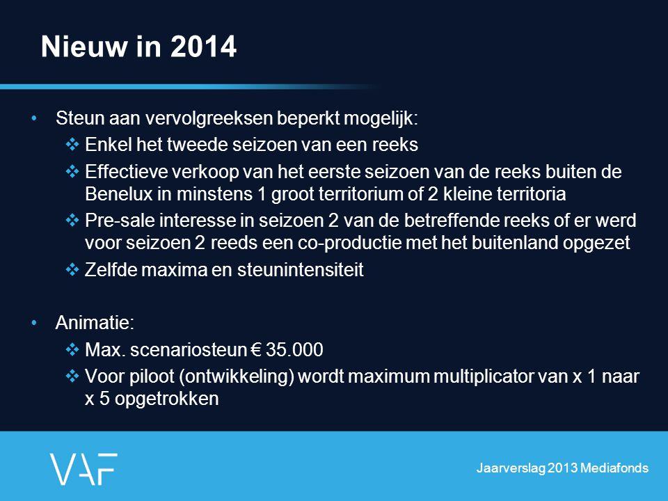 Nieuw in 2014 Steun aan vervolgreeksen beperkt mogelijk:  Enkel het tweede seizoen van een reeks  Effectieve verkoop van het eerste seizoen van de r