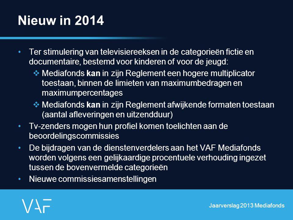 Nieuw in 2014 Ter stimulering van televisiereeksen in de categorieën fictie en documentaire, bestemd voor kinderen of voor de jeugd:  Mediafonds kan