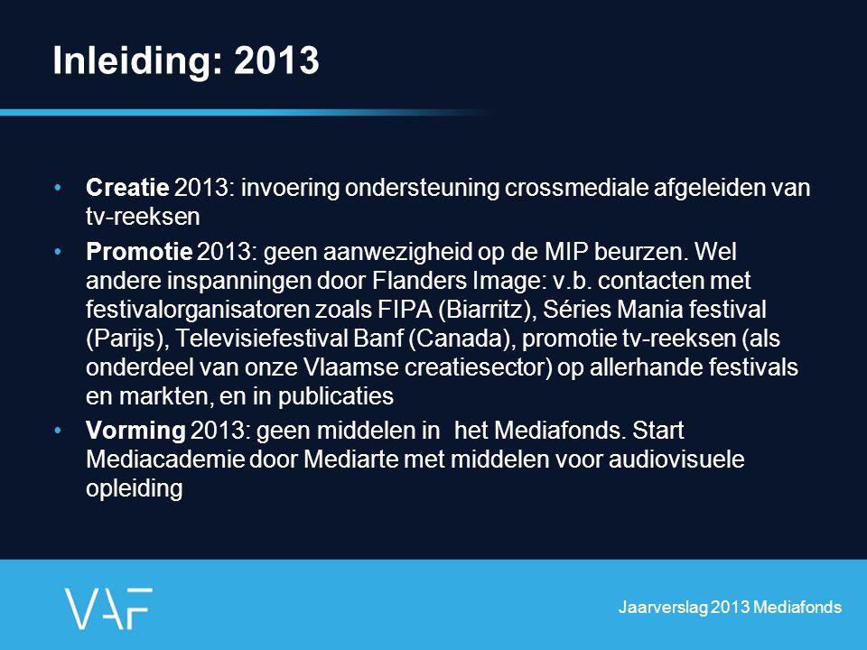 Inleiding: 2013 Creatie 2013: invoering ondersteuning crossmediale afgeleiden van tv-reeksen Promotie 2013: geen aanwezigheid op de MIP beurzen. Wel a