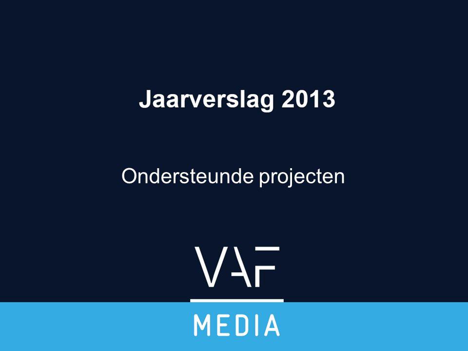 Boekhoudkundige cijfers 2013 VAF/ Mediafonds Jaarverslag 2013 Mediafonds BudgetRealiteit Steun aan creatie3.800.0005.946.059 Promotie37.00016.404 Werkingsmiddelen167.000130.636 TOTAAL € 4.004.000€ 6.093.100 DOTATIE€ 4.004.000 - Over te dragen opbrengsten 2.117.857 RESULTAAT 2013 VAF/Mediafonds € 28.758