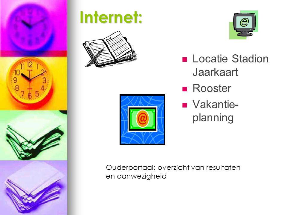 Internet: Locatie Stadion Jaarkaart Rooster Vakantie- planning Ouderportaal: overzicht van resultaten en aanwezigheid