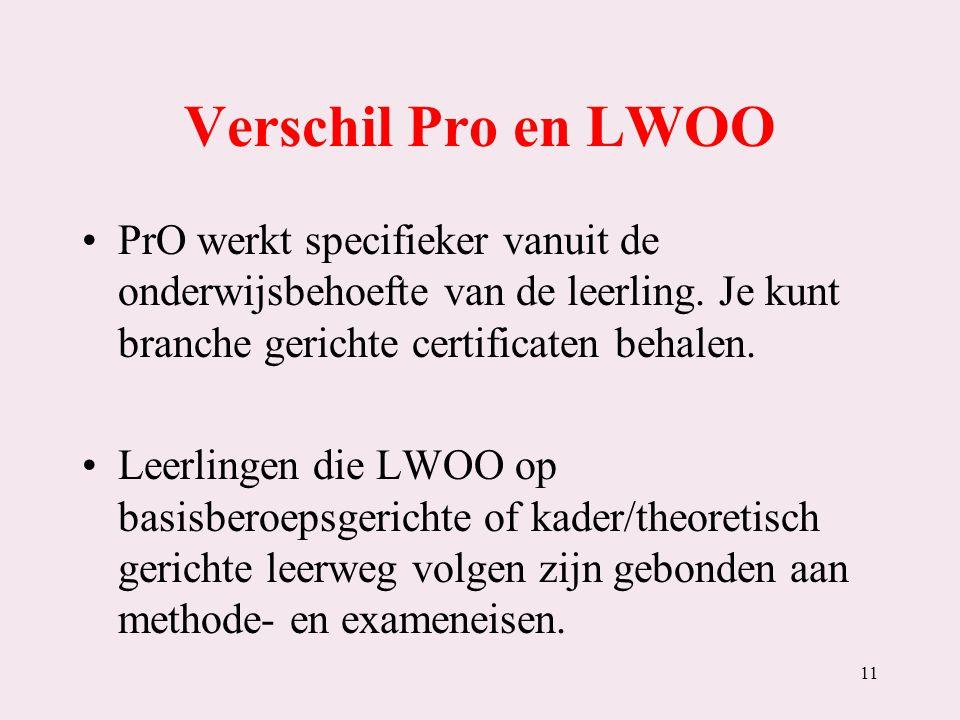 Verschil Pro en LWOO PrO werkt specifieker vanuit de onderwijsbehoefte van de leerling. Je kunt branche gerichte certificaten behalen. Leerlingen die