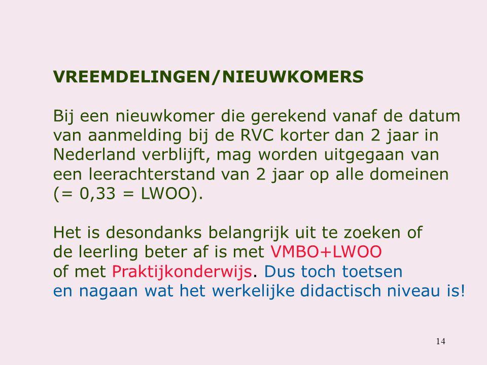 14 VREEMDELINGEN/NIEUWKOMERS Bij een nieuwkomer die gerekend vanaf de datum van aanmelding bij de RVC korter dan 2 jaar in Nederland verblijft, mag wo