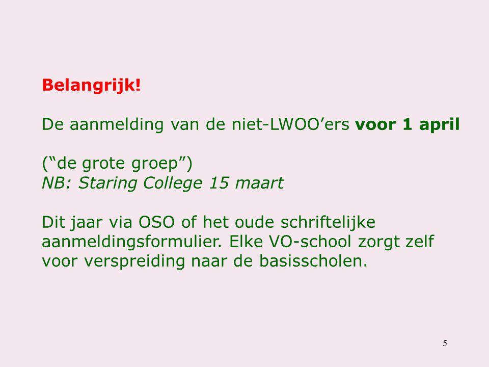 """5 Belangrijk! De aanmelding van de niet-LWOO'ers voor 1 april (""""de grote groep"""") NB: Staring College 15 maart Dit jaar via OSO of het oude schriftelij"""