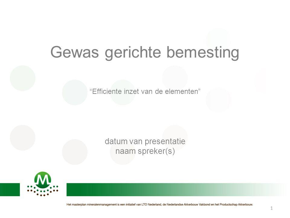 """Gewas gerichte bemesting """"Efficiente inzet van de elementen"""" datum van presentatie naam spreker(s) 1"""