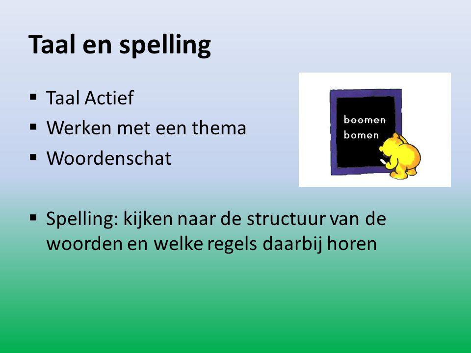Taal en spelling  Taal Actief  Werken met een thema  Woordenschat  Spelling: kijken naar de structuur van de woorden en welke regels daarbij horen