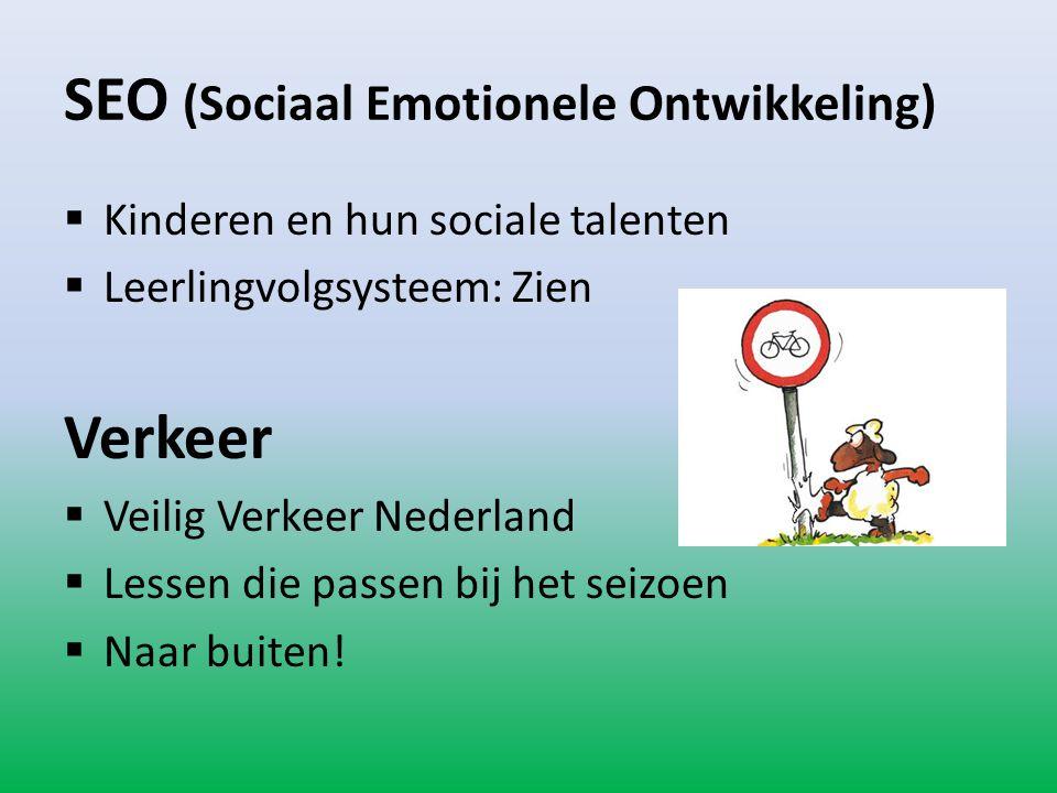 SEO (Sociaal Emotionele Ontwikkeling)  Kinderen en hun sociale talenten  Leerlingvolgsysteem: Zien Verkeer  Veilig Verkeer Nederland  Lessen die p