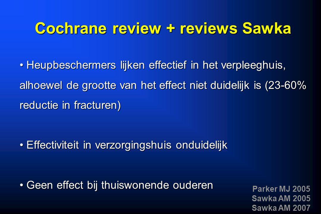 Heupbeschermers lijken effectief in het verpleeghuis, alhoewel de grootte van het effect niet duidelijk is (23-60% reductie in fracturen) Heupbescherm
