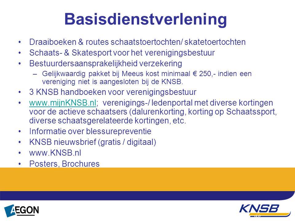 Basisdienstverlening Draaiboeken & routes schaatstoertochten/ skatetoertochten Schaats- & Skatesport voor het verenigingsbestuur Bestuurdersaansprakel
