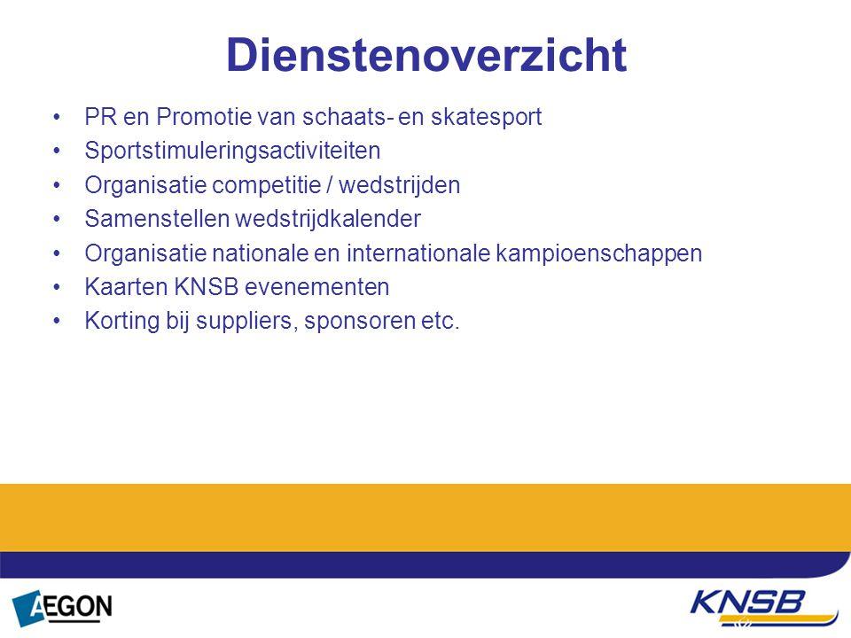 Dienstenoverzicht PR en Promotie van schaats- en skatesport Sportstimuleringsactiviteiten Organisatie competitie / wedstrijden Samenstellen wedstrijdk