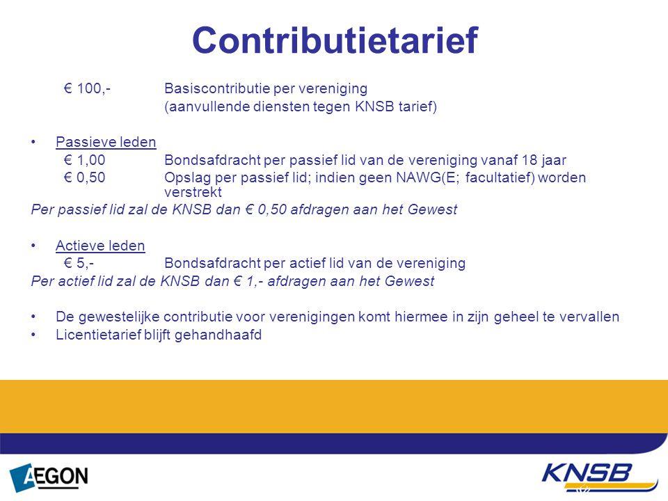 Tekst Contributietarief € 100,- Basiscontributie per vereniging (aanvullende diensten tegen KNSB tarief) Passieve leden € 1,00 Bondsafdracht per passi