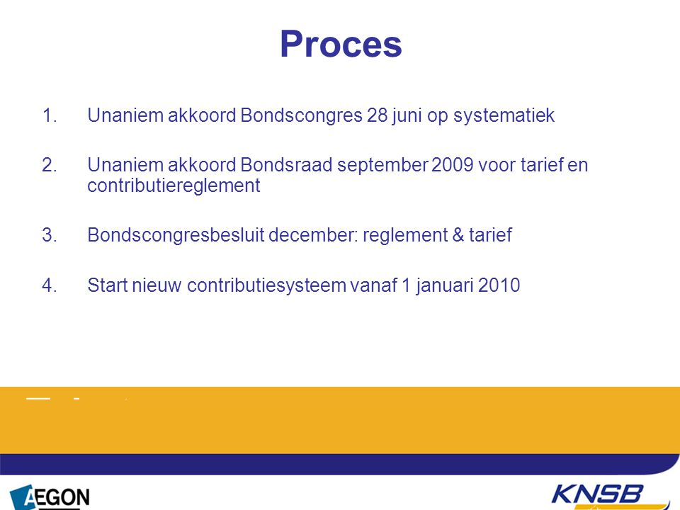 1.Unaniem akkoord Bondscongres 28 juni op systematiek 2.Unaniem akkoord Bondsraad september 2009 voor tarief en contributiereglement 3.Bondscongresbes