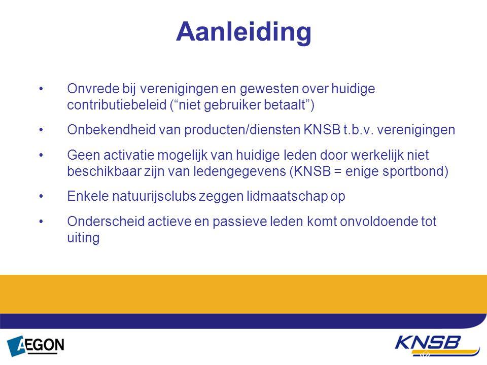 """Aanleiding Onvrede bij verenigingen en gewesten over huidige contributiebeleid (""""niet gebruiker betaalt"""") Onbekendheid van producten/diensten KNSB t.b"""
