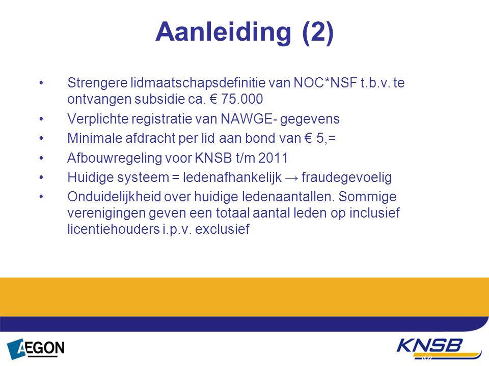 Aanleiding (2) Strengere lidmaatschapsdefinitie van NOC*NSF t.b.v. te ontvangen subsidie ca. € 75.000 Verplichte registratie van NAWGE- gegevens Minim