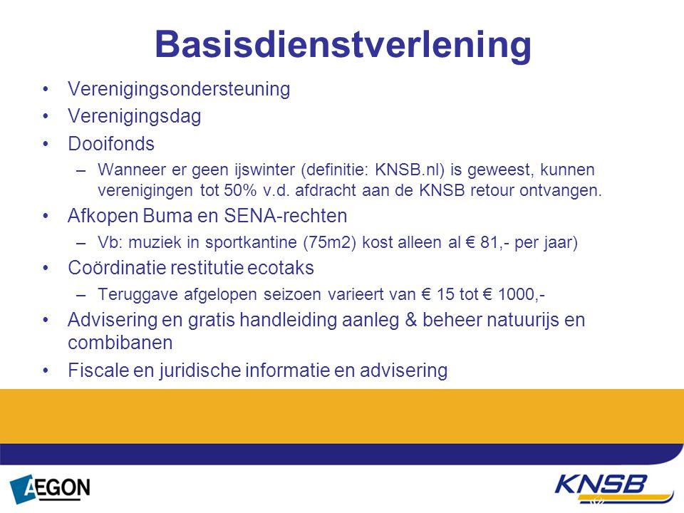 Basisdienstverlening Verenigingsondersteuning Verenigingsdag Dooifonds –Wanneer er geen ijswinter (definitie: KNSB.nl) is geweest, kunnen verenigingen