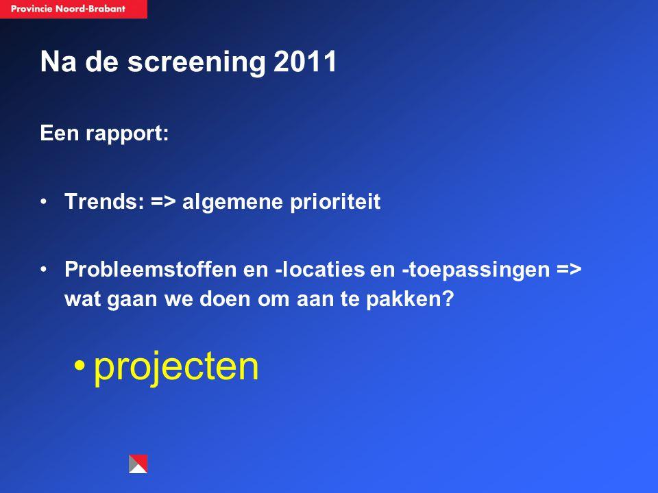 Na de screening 2011 Een rapport: Trends: => algemene prioriteit Probleemstoffen en -locaties en -toepassingen => wat gaan we doen om aan te pakken? p