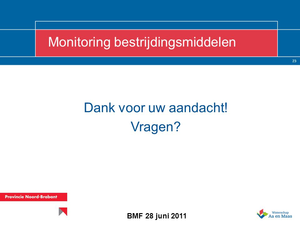 23 Monitoring bestrijdingsmiddelen BMF 28 juni 2011 Dank voor uw aandacht! Vragen
