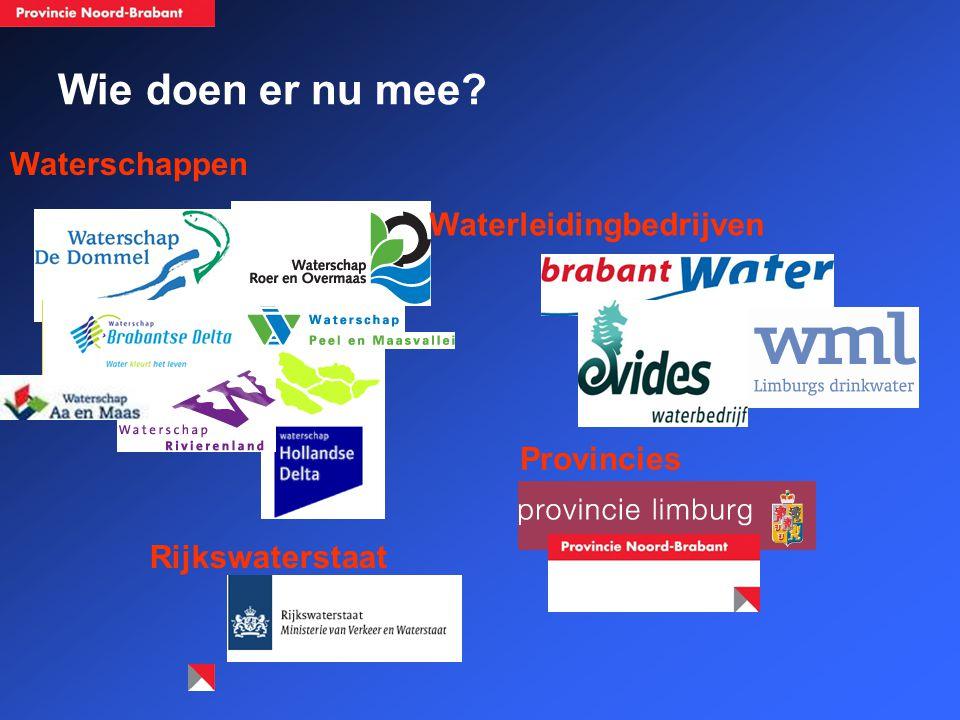 Wie doen er nu mee? Rijkswaterstaat Waterleidingbedrijven Waterschappen Provincies