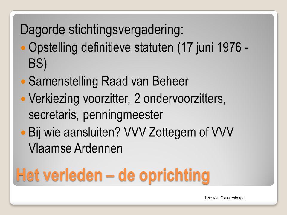 Eric Van Cauwenberge Het verleden – de oprichting Dagorde stichtingsvergadering: Opstelling definitieve statuten (17 juni 1976 - BS) Samenstelling Raa