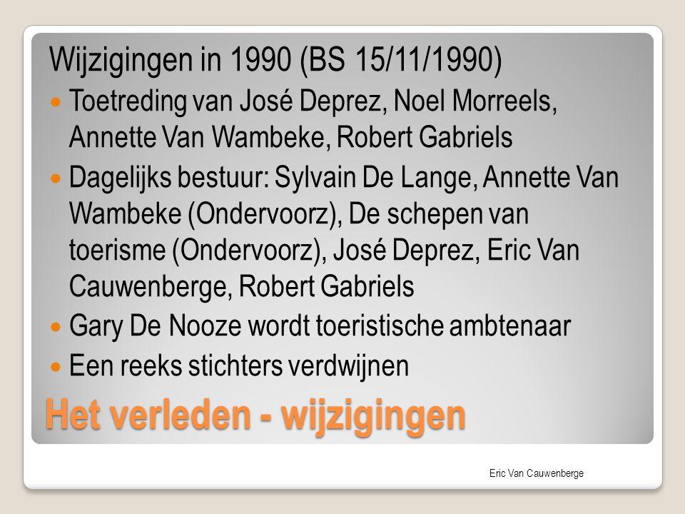 Eric Van Cauwenberge Het verleden - wijzigingen Wijzigingen in 1990 (BS 15/11/1990) Toetreding van José Deprez, Noel Morreels, Annette Van Wambeke, Ro