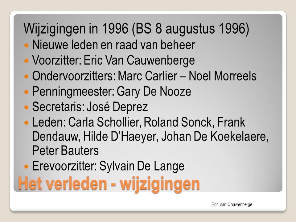 Eric Van Cauwenberge Het verleden - wijzigingen Wijzigingen in 1996 (BS 8 augustus 1996) Nieuwe leden en raad van beheer Voorzitter: Eric Van Cauwenbe