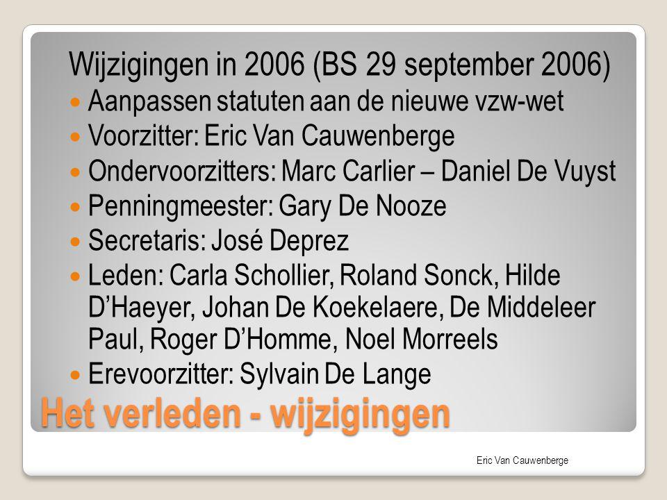 Eric Van Cauwenberge Het verleden - wijzigingen Wijzigingen in 2006 (BS 29 september 2006) Aanpassen statuten aan de nieuwe vzw-wet Voorzitter: Eric V