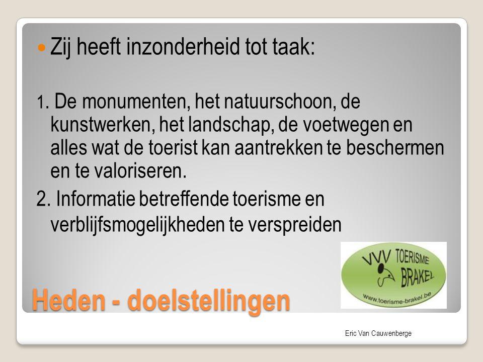 Eric Van Cauwenberge Heden - doelstellingen Zij heeft inzonderheid tot taak: 1. De monumenten, het natuurschoon, de kunstwerken, het landschap, de voe