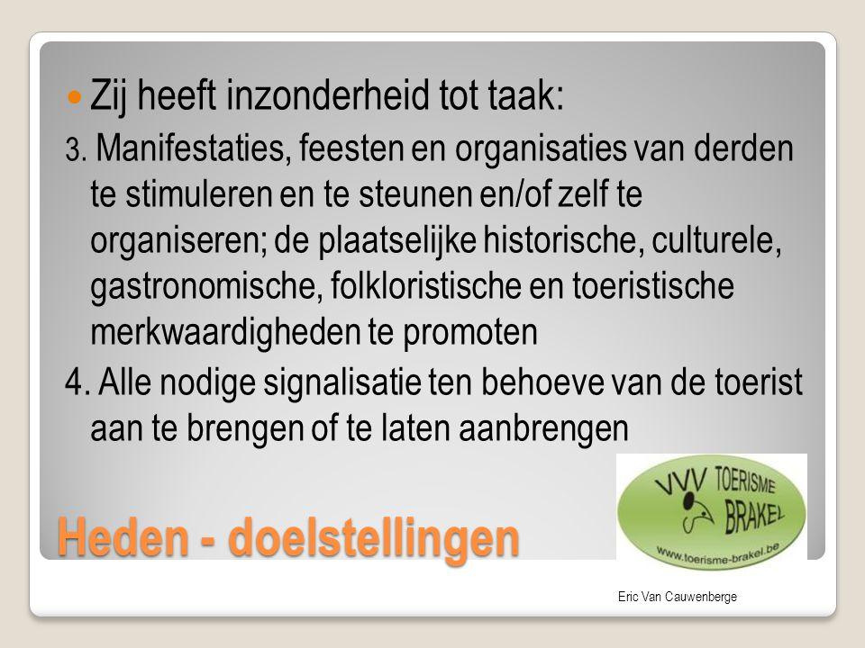 Eric Van Cauwenberge Heden - doelstellingen Zij heeft inzonderheid tot taak: 3. Manifestaties, feesten en organisaties van derden te stimuleren en te