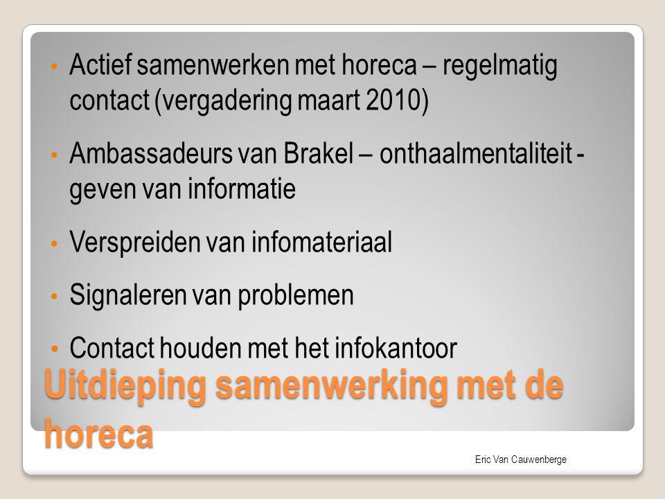 Eric Van Cauwenberge Uitdieping samenwerking met de horeca Actief samenwerken met horeca – regelmatig contact (vergadering maart 2010) Ambassadeurs va