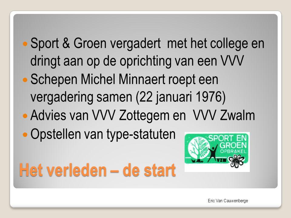 Eric Van Cauwenberge Het verleden – de start Sport & Groen vergadert met het college en dringt aan op de oprichting van een VVV Schepen Michel Minnaer