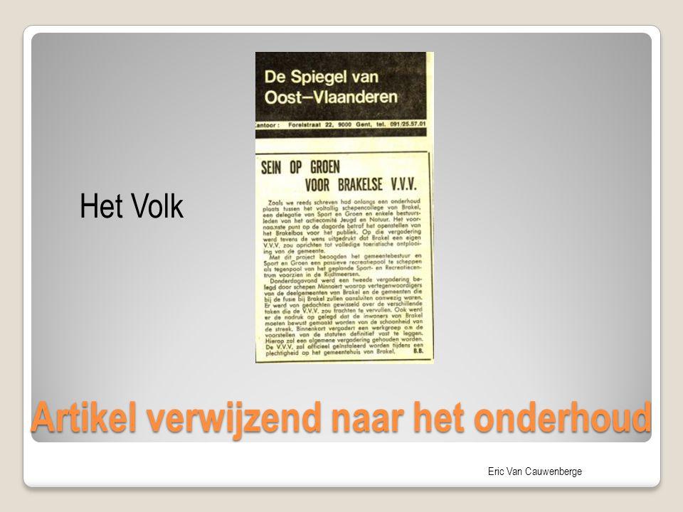 Eric Van Cauwenberge Artikel verwijzend naar het onderhoud Het Volk
