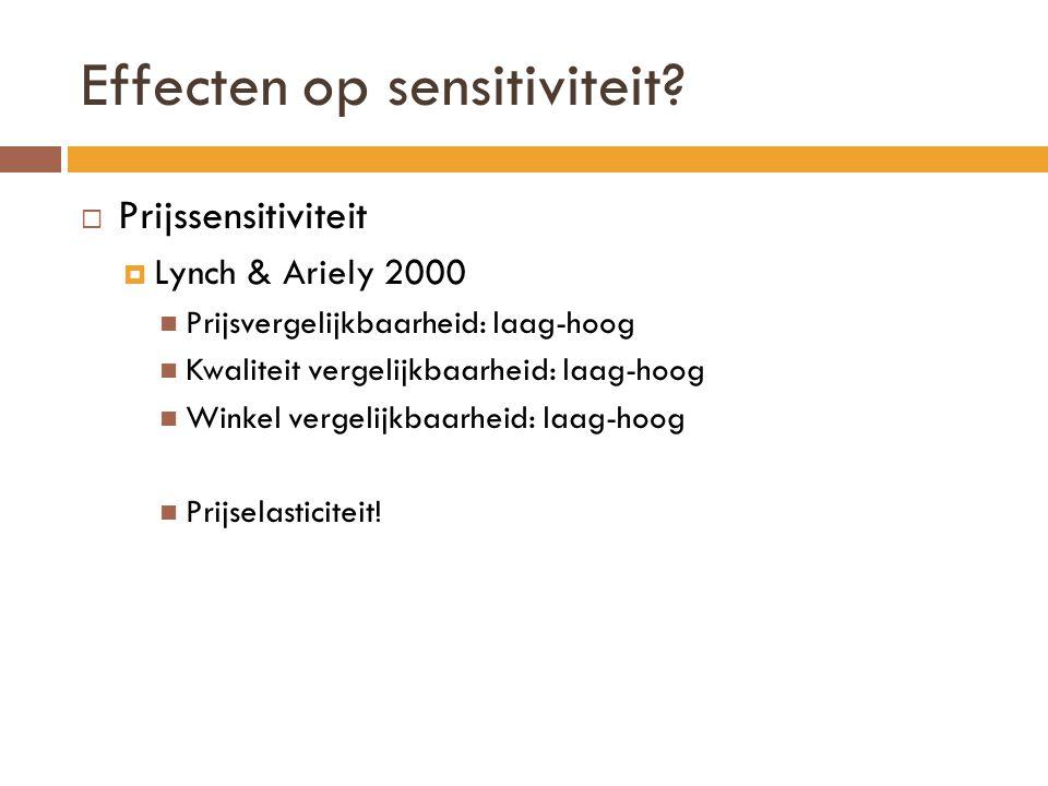 Effecten op sensitiviteit?  Prijssensitiviteit  Lynch & Ariely 2000 Prijsvergelijkbaarheid: laag-hoog Kwaliteit vergelijkbaarheid: laag-hoog Winkel