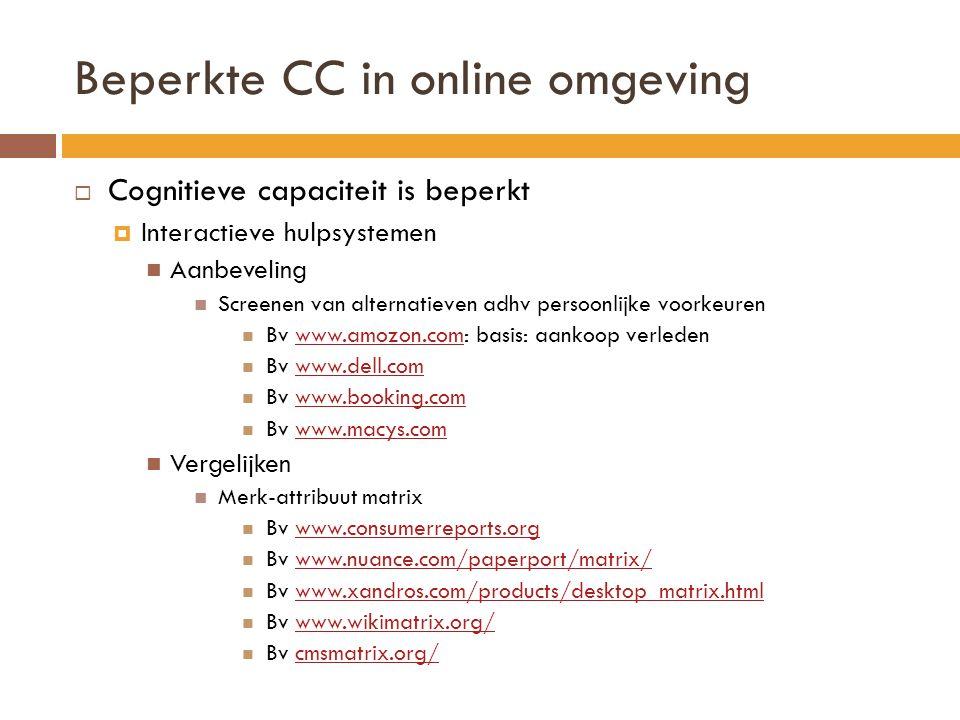 Beperkte CC in online omgeving  Cognitieve capaciteit is beperkt  Interactieve hulpsystemen Aanbeveling Screenen van alternatieven adhv persoonlijke