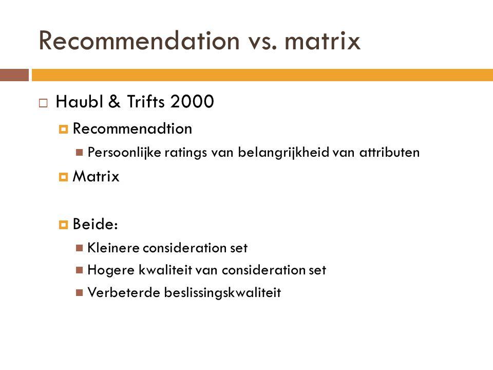 Recommendation vs. matrix  Haubl & Trifts 2000  Recommenadtion Persoonlijke ratings van belangrijkheid van attributen  Matrix  Beide: Kleinere con