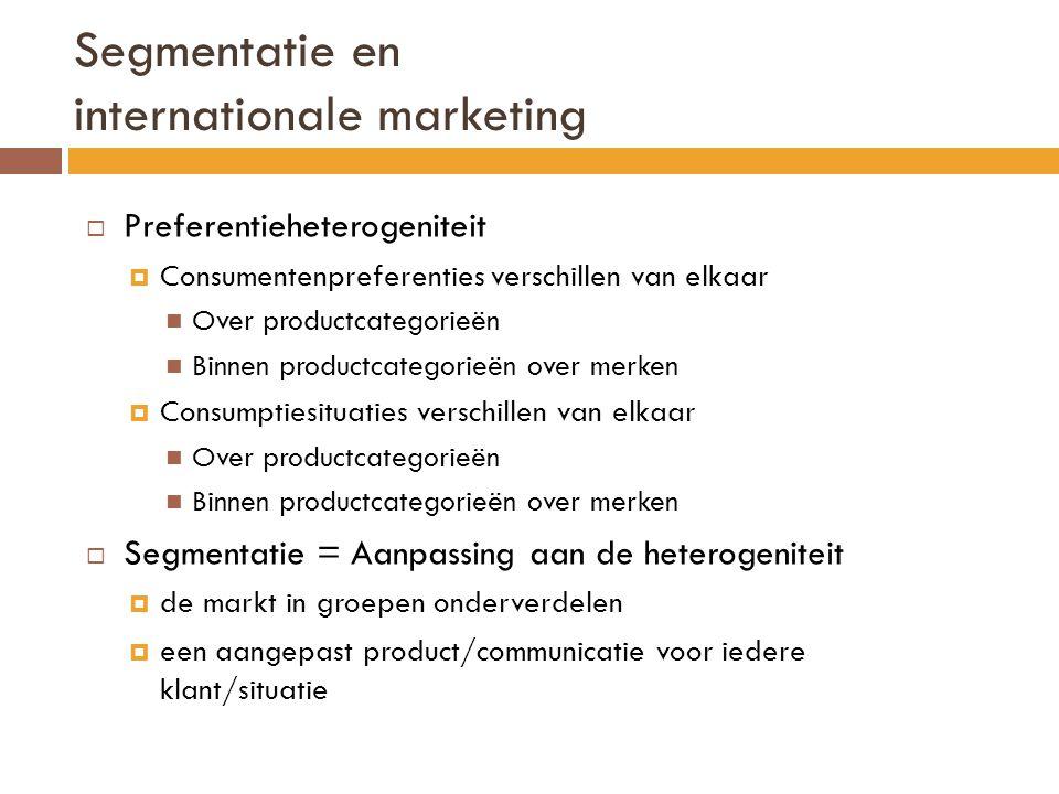 Segmentatie en internationale marketing  Preferentieheterogeniteit  Consumentenpreferenties verschillen van elkaar Over productcategorieën Binnen pr