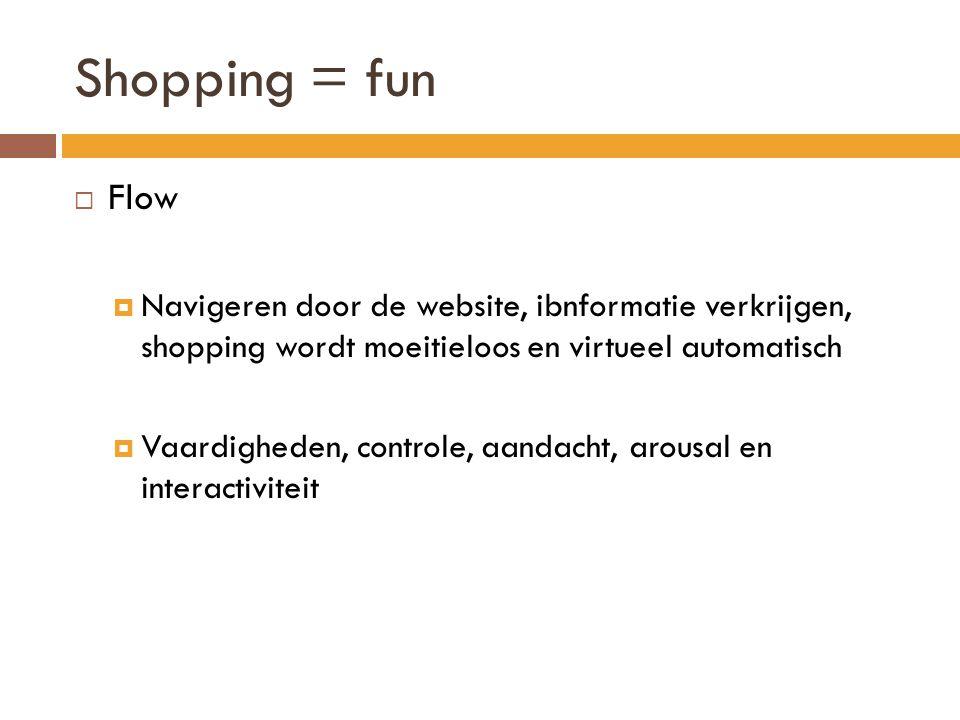 Shopping = fun  Flow  Navigeren door de website, ibnformatie verkrijgen, shopping wordt moeitieloos en virtueel automatisch  Vaardigheden, controle