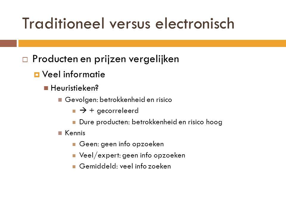 Traditioneel versus electronisch  Producten en prijzen vergelijken  Veel informatie Heuristieken? Gevolgen: betrokkenheid en risico  + gecorreleerd