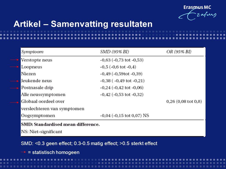 Artikel – Samenvatting resultaten SMD: 0.5 sterkt effect = statistisch homogeen