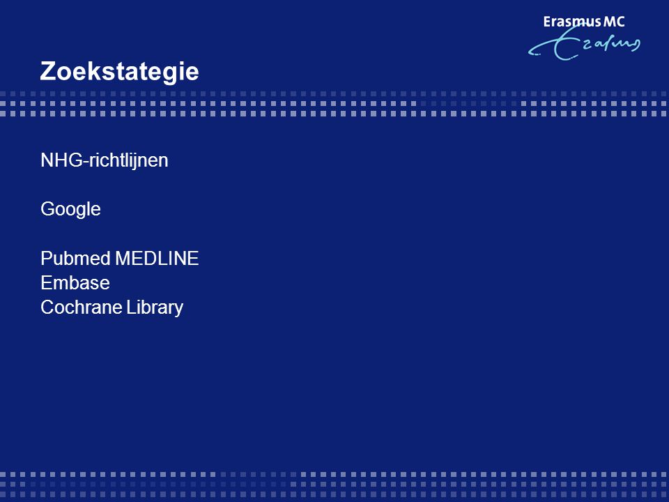 Zoekstrategie PubMed-MEDLINE  Rhinitis, Allergic, Seasonal/drug therapy [Mesh] AND intranasal AND oral (Publication Date from 1993 to 2008, Meta-Analysis, Randomized Controlled Trial, Review, English, Dutch ) 79  Rhinitis, Allergic, Seasonal/drug therapy [Mesh] AND corticosteroid AND Histamine H1 Antagonists [Mesh] 16  Rhinitis, Allergic, Seasonal/drug therapy [Mesh] AND corticosteroid AND antihistamine 16 Cochrane  rhinitis antihistamine corticosteroid 26  rhinitis H1 receptor antagonist 60 EMBASE  rhinitis, allergic, seasonal AND intranasal AND oral (english, humans, 1993-2008) 7  rhinitis, allergic, seasonal AND corticosteroid AND histamine h1 antagonists (english, humans, 1993-2008) 119